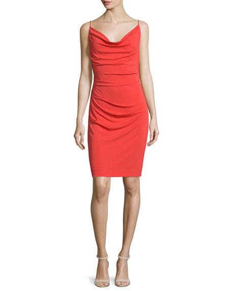 Cowl Neck Sheath Dresses: Nicole Miller Sleeveless Cowl-Neck Sheath Dress, Coral