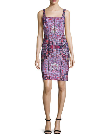 Nicole Miller Sleeveless Powernet Sheath Dress, Multicolor