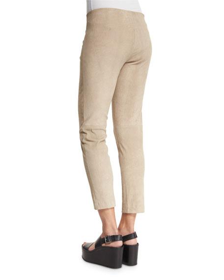 Suede Slim-Fit Pull-On Trouser Leggings