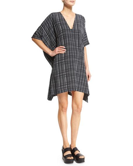 Vince Interlace-Printed V-Neck Poncho Dress