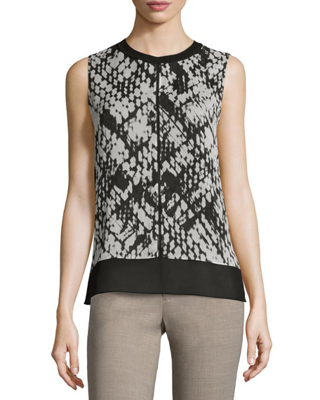 Vince Basketweave-Print Double-Layer Silk Top