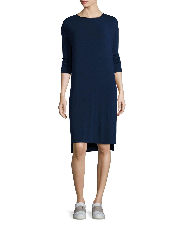 ed5490fb6949 Vince LEATHER TRIM T-SHIRT DRESS | Neiman Marcus