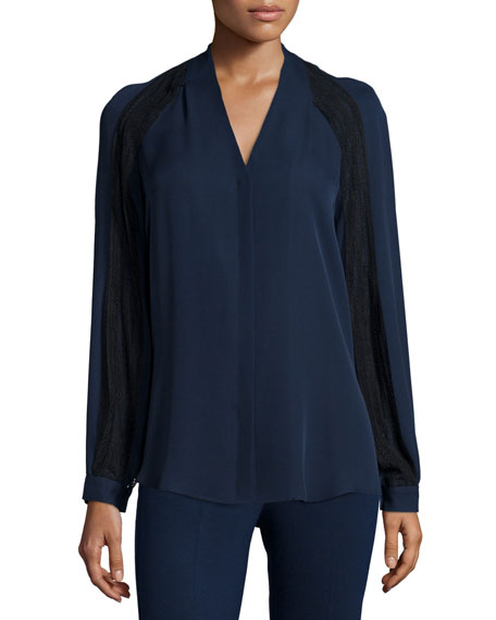 Kobi Halperin Noor Long-Sleeve Silk Blouse with Lace Insets