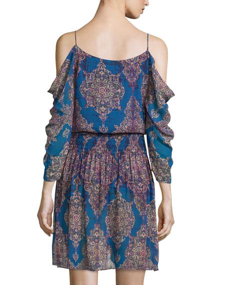 Cold-Shoulder V-Neck Dress, Blue/Multi