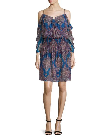 Nicole Miller Cold-Shoulder V-Neck Dress, Blue/Multi