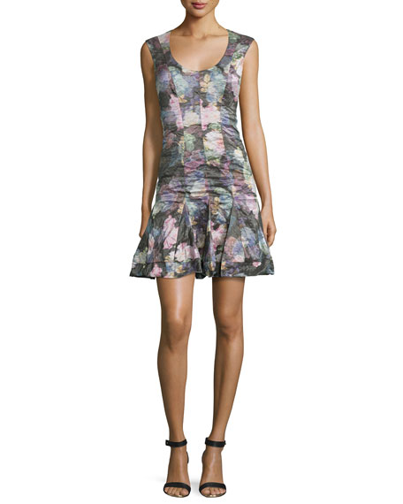 Nicole Miller Sleeveless Fit-and-Flare Floral-Print Dress