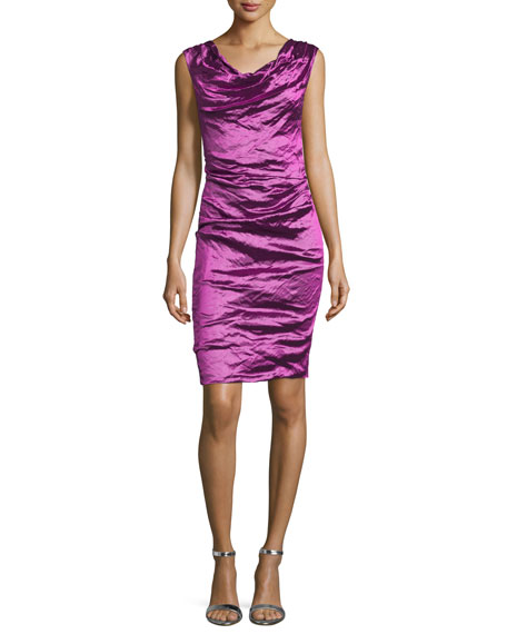 Cowl Neck Sheath Dresses: Nicole Miller Sleeveless Cowl-Neck Sheath Dress, Magenta