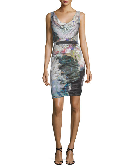 Nicole Miller Sleeveless Cowl-Neck Sheath Dress, Multi Colors