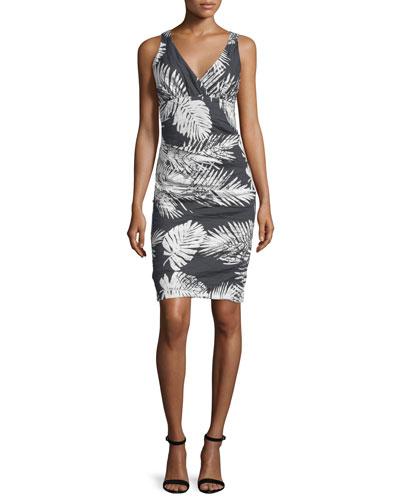 Nicole Miller Sleeveless Tuck-Pleated Dress, Black/White