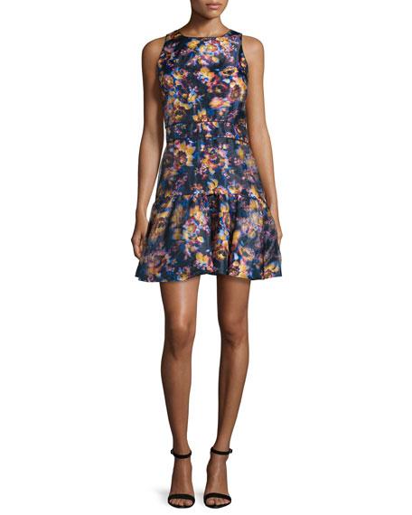 Nicole Miller Sleeveless Floral-Print Fit-&-Flare Dress, Multi