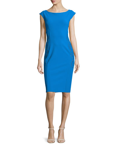 Cartem Cap-Sleeve Sheath Cocktail Dress W/ Eyelet Detail