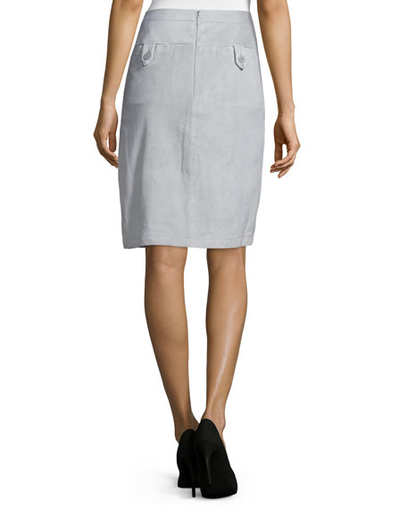Suede Wrap Skirt, Mist
