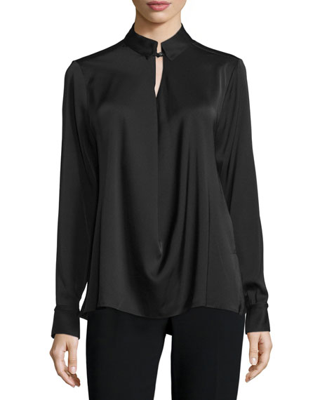 Long-Sleeve Draped-Front Blouse, Black