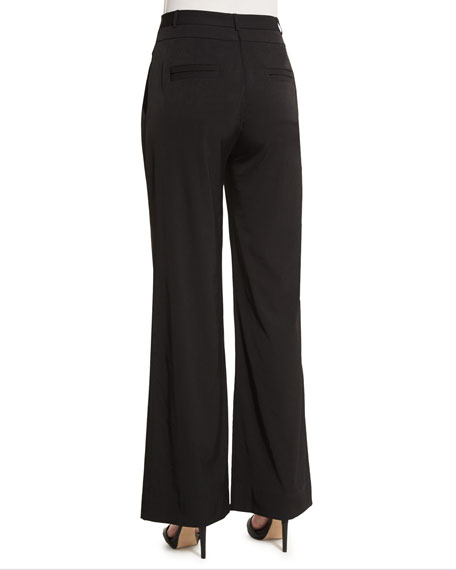 Mid-Rise Wide-Leg Pants, Black