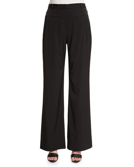 Halston Heritage Mid-Rise Wide-Leg Pants, Black