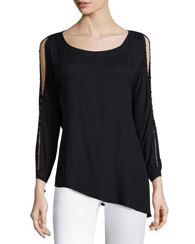 Split-Sleeve Round-Neck Top, Black