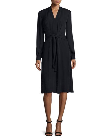 Kobi Halperin Margaux Long-Sleeve Tie-Waist Dress, Black