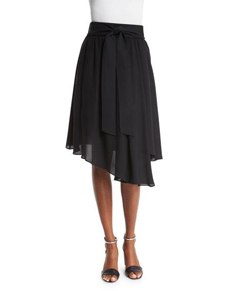Kobi Halperin Bria Waist-Tie Asymmetric-Hem Skirt, Black