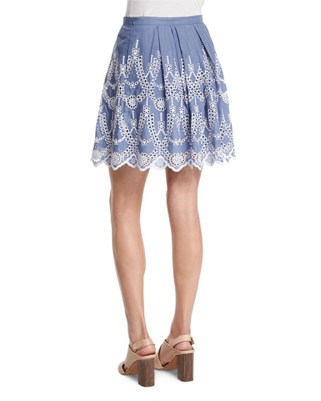 Pleated A-Line Eyelet Skirt, Tempest