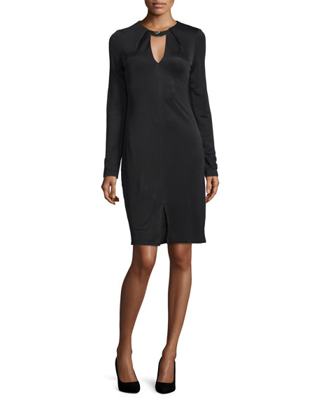 Halston Heritage Long-Sleeve Sheath Dress, Black