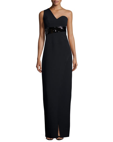 Halston Heritage One-Shoulder Embellished Fitted Gown, Black