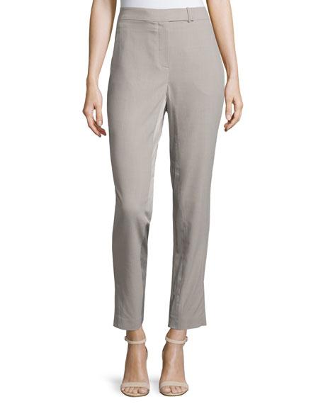Halston Heritage Slim-Fit Ankle Pants, Light Stone