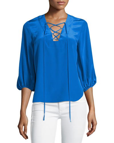 Nora 3/4-Sleeve Lace-Up Blouse, Cobalt