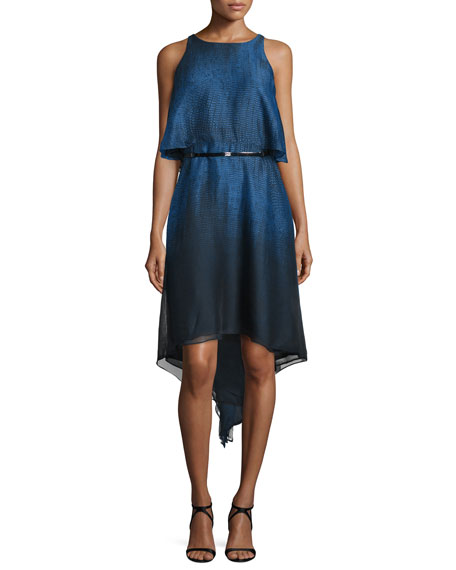 Halston HeritageSleeveless Popover Belted Dress, Sky Blue Ombre