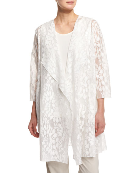 Caroline Rose Rain Lace Sheer Topper Jacket, White,