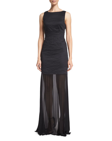 Nicole Miller Sleeveless Back-Tie Gown, Black