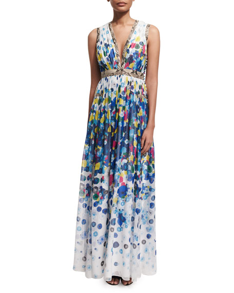 Diane von Furstenberg Lelani Floating Flower Maxi Dress,