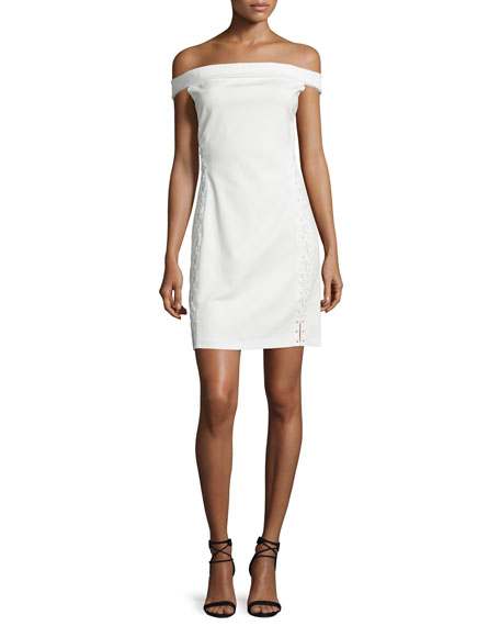 Halston Heritage Off-The-Shoulder Lace-Up Cocktail Dress, Off White