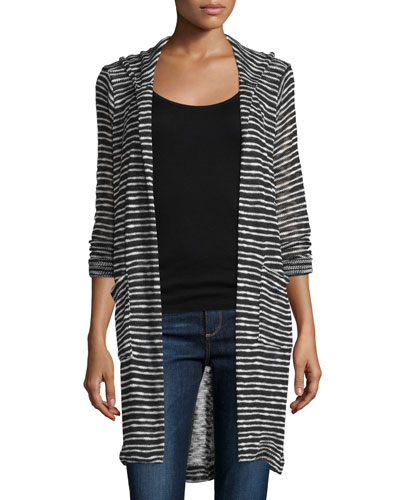 Carlow Hooded Long-Sleeve Duster, Black/Sand Dollar