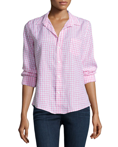 Frank & Eileen Barry Long-Sleeve Grid-Print Shirt, Pink