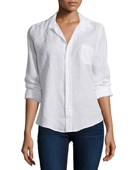 Frank & Eileen Barry Linen Long-Sleeve Shirt, White