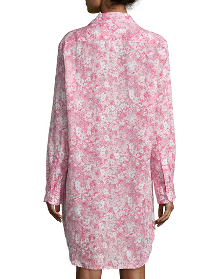 Mary Floral-Print Shirtdress, Pink/Multi
