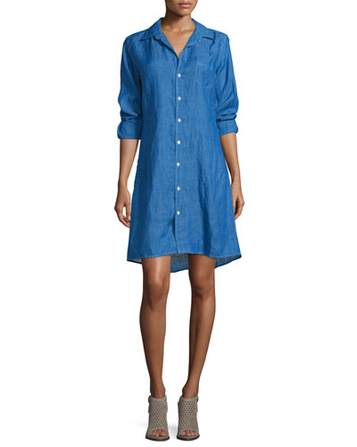 Murphy Button-Front Linen Shirtdress, Blue