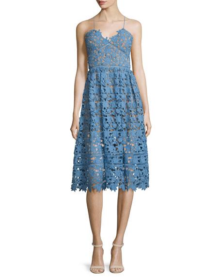 Self Portrait Azaelea Guipure-Lace Illusion Dress, Blue