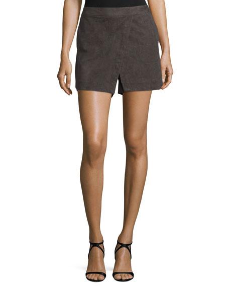 Mid-Rise Slim-Leg Skort, Black Olive