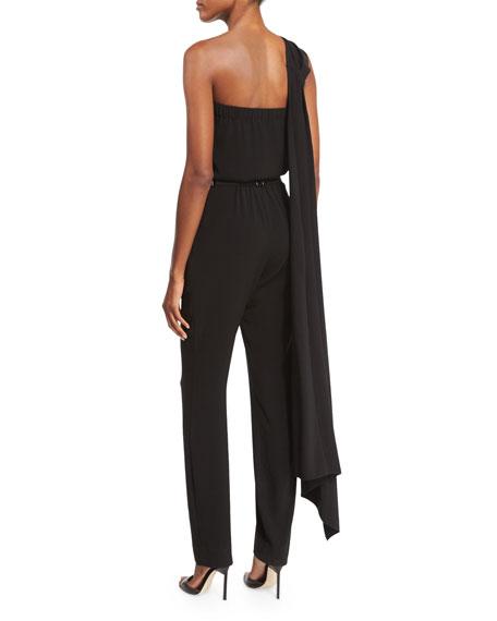 Sleeveless Draped-Neck Jumpsuit, Black