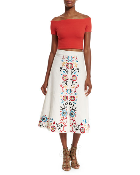 Giselle Embroidered Midi Skirt, White/Multicolor
