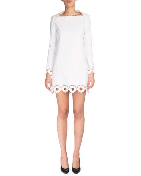 Carven Long-Sleeve Eyelet Sheath Dress, Optic White