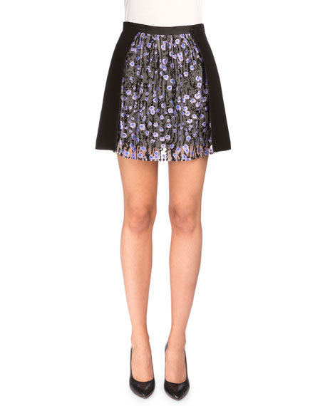 Carven Floral-Trim Ponte A-Line Skirt, Black/Lilac