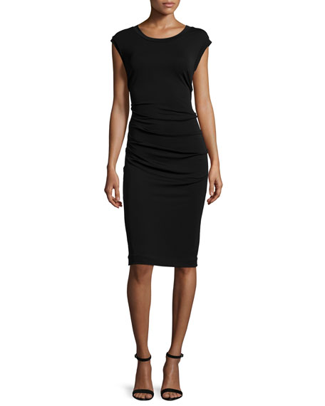 Cap-Sleeve Ruched Cocktail Dress, Black