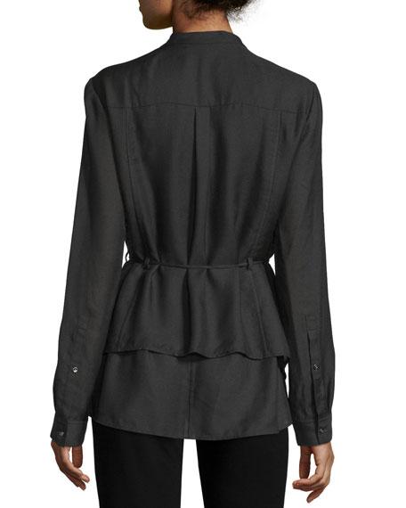 Long-Sleeve Layered Blouse, Black