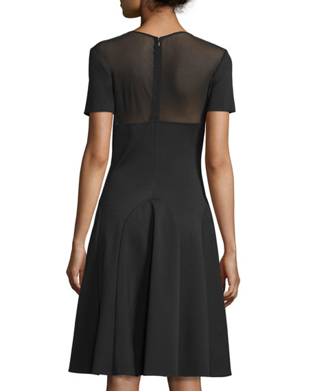 Short-Sleeve Sheer-Yoke Cocktail Dress, Black