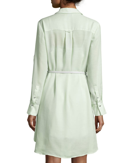 Halston Heritage Long-Sleeve Belted Overlay Shirtdress, Pistachio