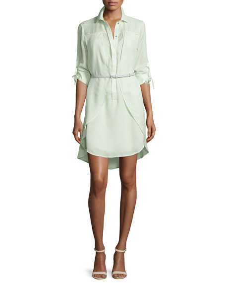 Halston Heritage Long-Sleeve Belted Overlay Shirtdress, Pistachio