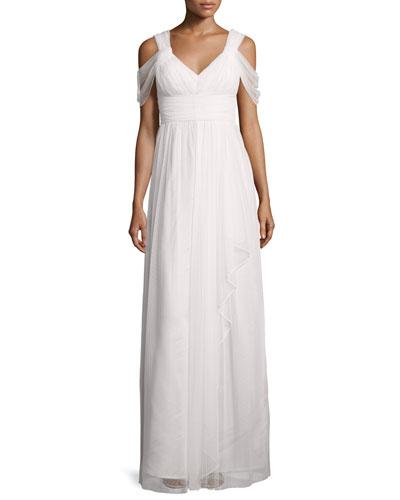 Donna Morgan Colette Dot Mesh Flowy Gown