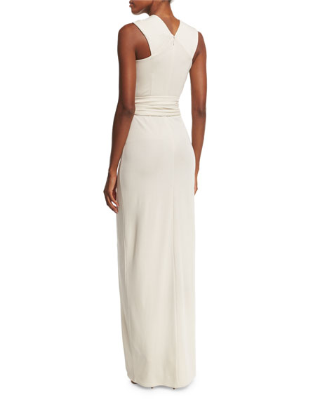 Sleeveless Gathered-Waist Gown, Dark Bone